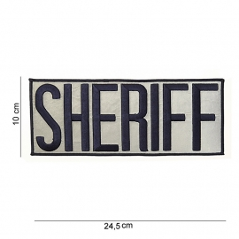 Embleem stof name tag Sheriff - 24,5 x 10 cm - extra groot