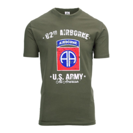 T-shirt 82nd Airborne Division deluxe  - Groen - maat Small t/m XXL