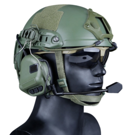 Tactical Headset Microphone Comtac Rail Adapter for FAST MICH Helmet  GREEN