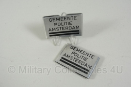Gemeente Politie Amsterdam metalen schouder insigne paar- 2 streep - origineel