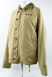 USN US Navy N-1 deck jacket khaki - US size 48 = NL maat 58 - replica
