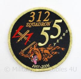 Klu Luchtmacht embleem  312 Squadron 55 years 1951 - 2006 - met klittenband -  diameter 10,5 cm - origineel