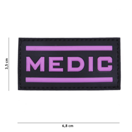 Embleem 3D PVC PVC - met klittenband - MEDIC zwart/roze  - 6,8 x 3,5 cm