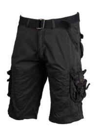 Vintage survival shorts + trouser belt prewash korte broek - BLACK