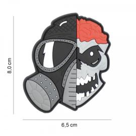 Skull with brains and gasmask embleem 3D PVC - met klittenband - 8 x 6,5 cm