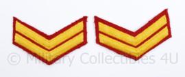 Korps Mariniers Barathea rangstrepen paar - Rang Korporaal - origineel