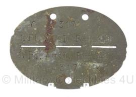 WO2 Duitse erkennungsmarke - 1e Kompanie Flieger Ausbildungs Regiment 41 - persoonsnummer 317 - origineel