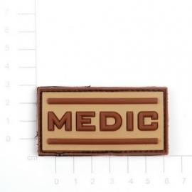 Embleem 3D PVC Medic -  klittenband - 5 x 2,5 cm - desert