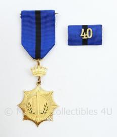 Gemeentepolitie Amsterdam 40 jaar trouwe dienst medaille en baton - 11 x 3.5 cm - origineel