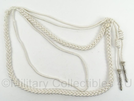 KMAR Marechaussee paradekoord Nestel wit met echt zilveren nestelpennen - origineel