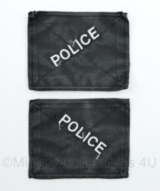 Britse Police klittenbank afdekking patches PAAR - met POLICE tekst - 10 x 13 cm - origineel