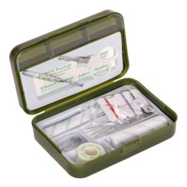 First aid kit in kunststof doosje  groen - met inhoud - nieuw gemaakt