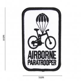 Airborne paratrooper embleem - stof - WIT - 8 x 5 cm