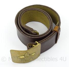 Russische koppel - bruin leer met goudkleurig  metalen slot - origineel