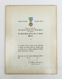 United Nations Interin Force Lebanon Medaille oorkonde 1979 - 40 x 30 x 0,5 cm - origineel