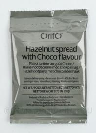 Rantsoen Orifo Hazelnut Spread with choco flavour 20 gram Pasta  - THT 2-2023 - 14 x 5,5 cm