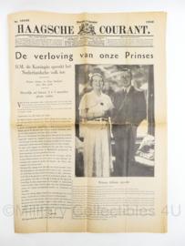 krant Haagsche courant van 9 september 1936 - de verloving van onze Prinses - origineel