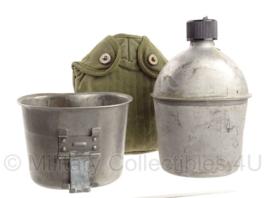 WO2 US Army veldfles set - fles 1945, beker '60 en hoes 1951 - origineel