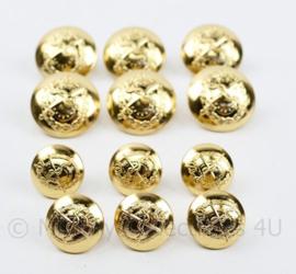 KL Geneeskundige dienst goudkleurige knoop set - SET van 12 stuks - origineel