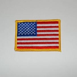 Uniform landsvlag USA - gele rand - groot - 9 x 5,7 cm.