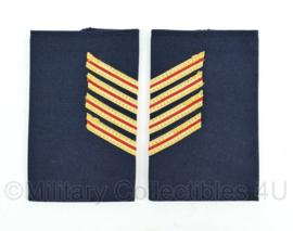 Nederlandse Brandweer donkerblauw stof epauletten - rang asprirant Onderbrandmeester - 5,5 x 9,5 cm - paar - origineel