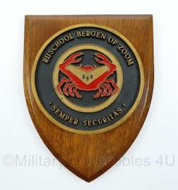 """Rijschool Bergen op Zoom wandbord - """"Semper Securitas"""" - afmeting 18 x 14 x 2 cm - origineel"""