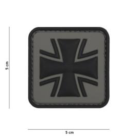 Embleem 3D PVC met klittenband - Duits Kruis - grijs - 5 x 5 cm.