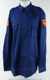 Brandweer kazerne tenue overhemd - huidig model emblemen- lange mouw - nieuw in de verpakking -  fel blauw - maat 41/42 - origineel