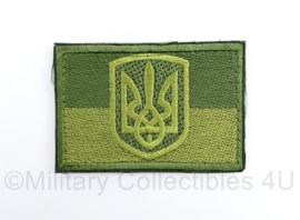 Oekraïense leger embleem groen met wapen van Oekraïne - met klittenband - 8 x 6  cm - origineel