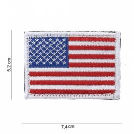 Uniform vlag  USA - witte rand- met klitteband - 5,2 bij 7,4  cm.