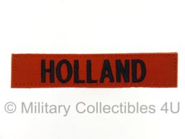 Naamlint 'HOLLAND' Oranje/zwart met klittenband - nieuw gemaakt
