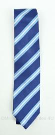Nieuw gemaakte stropdas - donkerblauw en lichtblauw gestreept - puur zijde - origineel