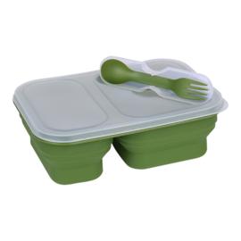 Opvouwbare lunchbox met deksel én spork - inhoud 300/600 ml - GROEN - nieuw gemaakt