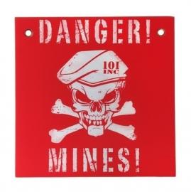 """Plaat """"Danger! Mines!"""" - 30x30 cm. - rood/ wit"""