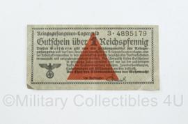 Wo2 Duits Kriegsgefangenen lagergeld 1 Reichspfenning - 7,5 x 4 cm - origineel