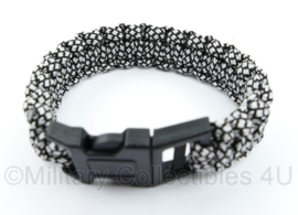 Paracord armband - 23 cm - zwart/wit