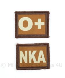 Embleem bloedgroep paar - O positief & NKA - met klittenband - 4,5 x 5 cm -origineel
