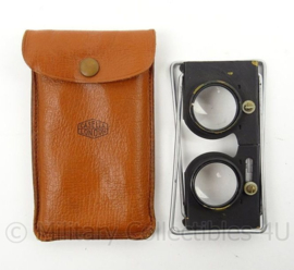 Antieke Hand stereocope Casella London - met bruin tasje - gebruikt - origineel
