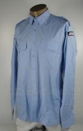 KMAR Marechaussee Overhemd lichtblauw met emblemen - maat 40-5 of 43-5 - huidig model - origineel