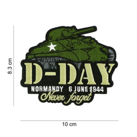 Embleem stof D-Day Normandy 6 June 1944 Never Forget - SHERMAN - 10 x 8,3 cm.