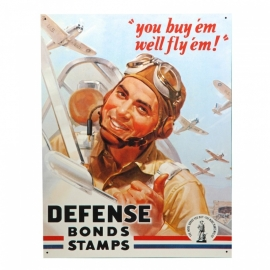 Metalen plaat  -  Defense Bonds Stamps 32 x 41 cm.