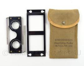 Britse antieke stereoscope magnifying pocket in draagtas - origineel