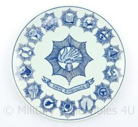Korps Rijkspolitie porseleinen wandbord Delfs blauw - diameter 23 cm - origineel