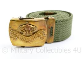 Nederlands leger Prinses Irene Brigade groene broekriem met logo op slot - 95 cm - origineel