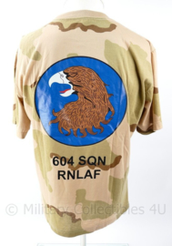 KLU Luchtmacht Desert shirt RNLAF 604 Squadron  Vlb SSB Vliegbasis Soesterberg - maat Medium - nieuw - origineel