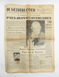 krant De Gelderlander van 4 juni 1963 - Paus Joannes overleden - origineel
