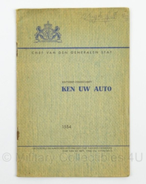 MVO Chef der Generalen Staf  Voorschrift nr. 1554 Ken uw Auto uit 1946 - afmeting 15 x 23 cm - origineel