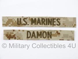 USMC US Marines 'DAMON' branch tape/naamlint SET - marpat desert camo - nieuw gemaakt