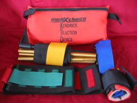 US Army en KL Nederlandse leger Kendrick Traction Device (KTD) om been te stabiliseren in oranje opberg tas - gebruikt - origineel