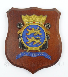 KM Marine wandbord Hr. Ms. Friesland - afmeting 14,5 x 17,5 x 2 cm - origineel